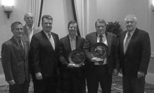 Project sponsors and awardees of the NOPP Excellence in Partnering Award, from left to right: Tim Arcano, NOAA; Walter Johnson, BOEM; Craig McLean, NOAA; Chuck Fisher, Penn State University (Awardee); Jim Brooks, TDI-Brooks, Inc. (Awardee); and Greg Boland, BOEM.
