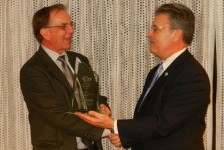 Craig McLean presents the 2014 NOPP Excellence in Partnering Award to Dr. Kenneth Johnson, Senior Scientist at the Monterey Bay Aquarium Research Institute (MBARI)