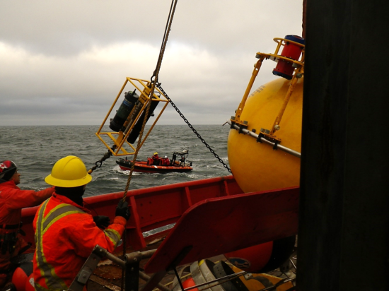 Coordinating deployment of oceanographic equipment between the mother research vessel and fast boat