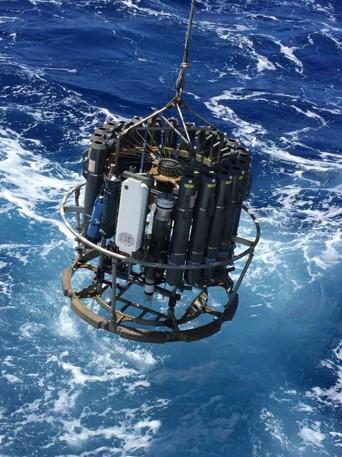 CTD (Conductivity-Temperature-Depth) Rosette Deployment. Photo Credit Richard Feely (NOAA/PMEL)